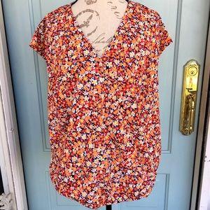 Jones New York Floral Short Sleeve Wrap Blouse